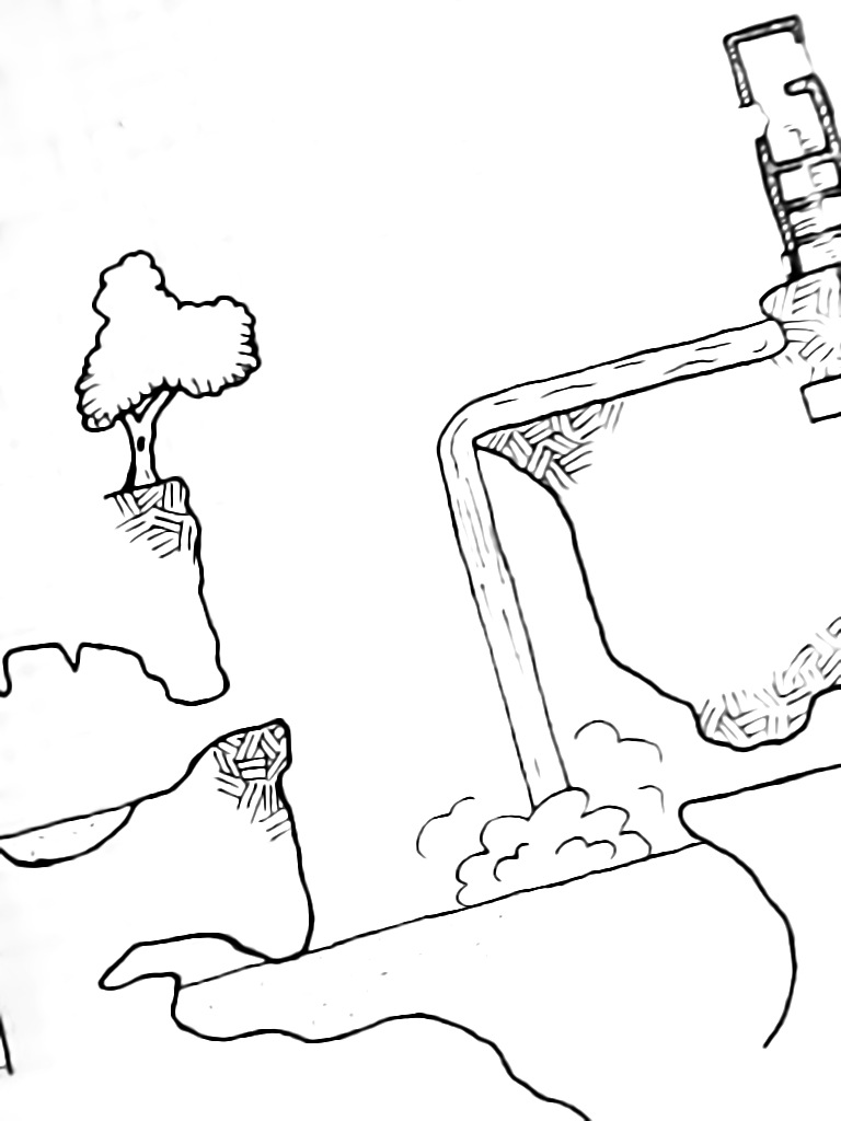 A drawing depicting a cut-away view of a waterfall descending into a sinkhole, with caves in the walls. A tree and a ruined tower overlook the sinkhole.