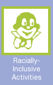 "Proposed GenCon icon: Minorities welcome! Depicts a cartoony, stereotypically-caricatured black man (or a white man in blackface), with the description ""Racially-Inclusive Activities""."
