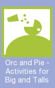 "Proposed GenCon icon: Fatties welcome! Depicts an enormous figure guzzling food, with the description ""Orc and Pie - Activities for Big and Talls"""